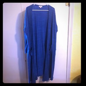 Royal Blue Patterned Duster Cardigan